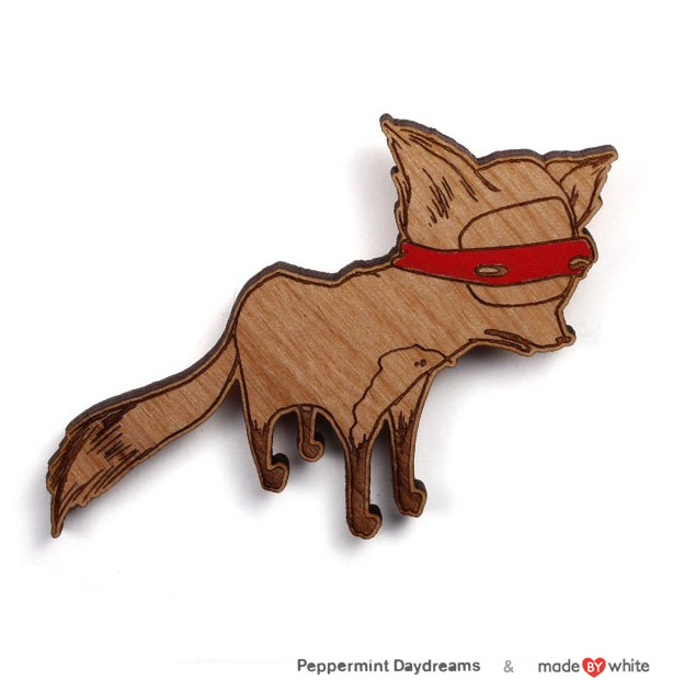 Bandit Fox Brooch by Christy Pepper Dawson & Made by White